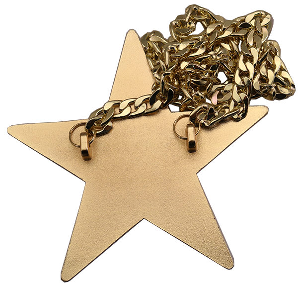 R STAR WITH METAL CHAIN BACK