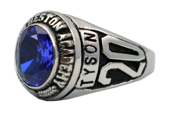 CHAPLTON HIGH SCHOOL RING BLUE STONE 1