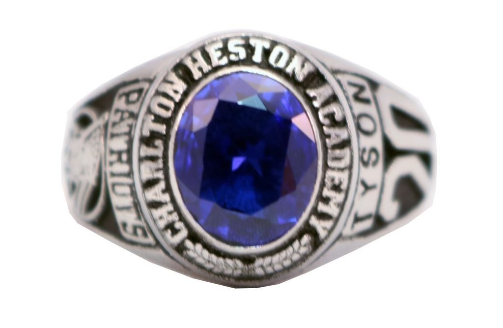 CHAPLTON HIGH SCHOOL RING BLUE STONE