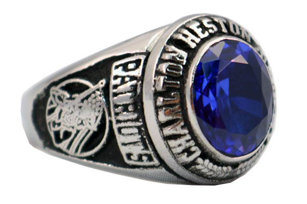 CHAPLTON HIGH SCHOOL RING BLUE STONE 2