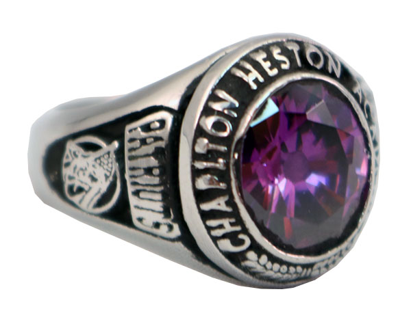 CHAPLTON HIGH SCHOOL RING PURPLE STONE 1