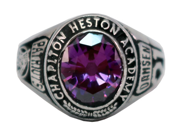 CHAPLTON HIGH SCHOOL RING PURPLE STONE