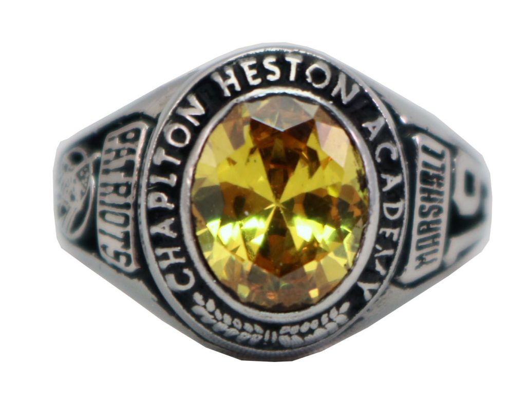 CHAPLTON HIGH SCHOOL RING TOPAZ STONE