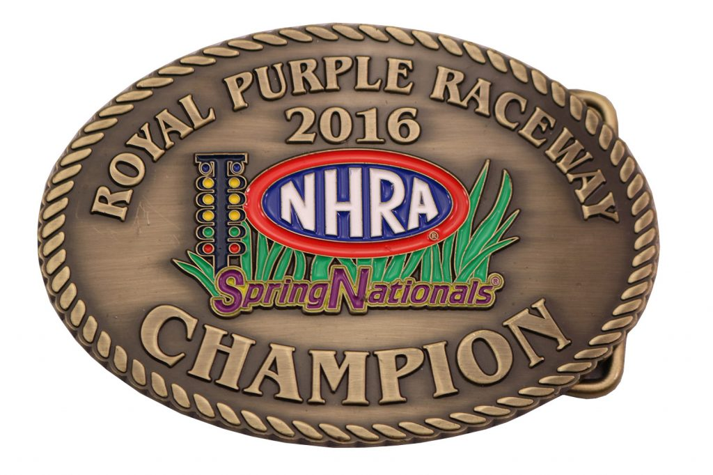 ROYAL PURPLR RACEWAY BELT BUCKLE