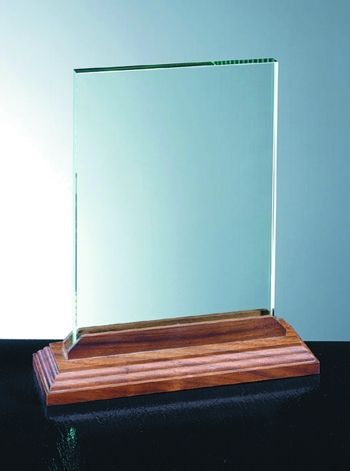 glass with wood base