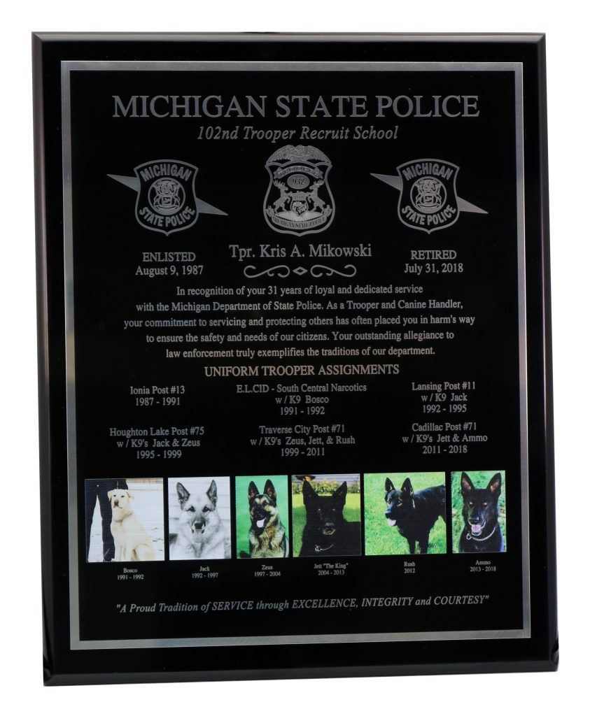 POLICE PLAQUE ENGRAVING-UV PRINT