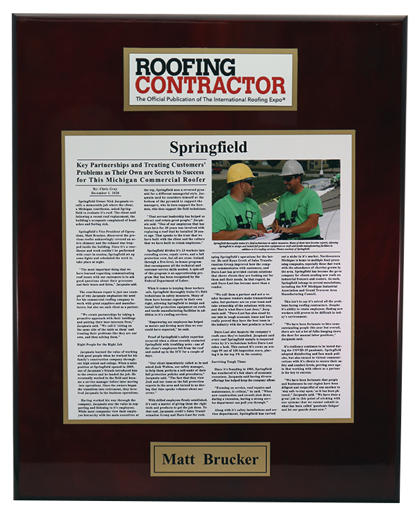 ROOFING CONTRACTOR UV PRINT PLAQUE