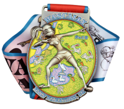 "3.25"" Die Struck Shiny Silver Medal, 3D Sculpted, Glitter Enamel Filled, Straight Loop Custom 32"" x 1 1/2"" Ribbon"
